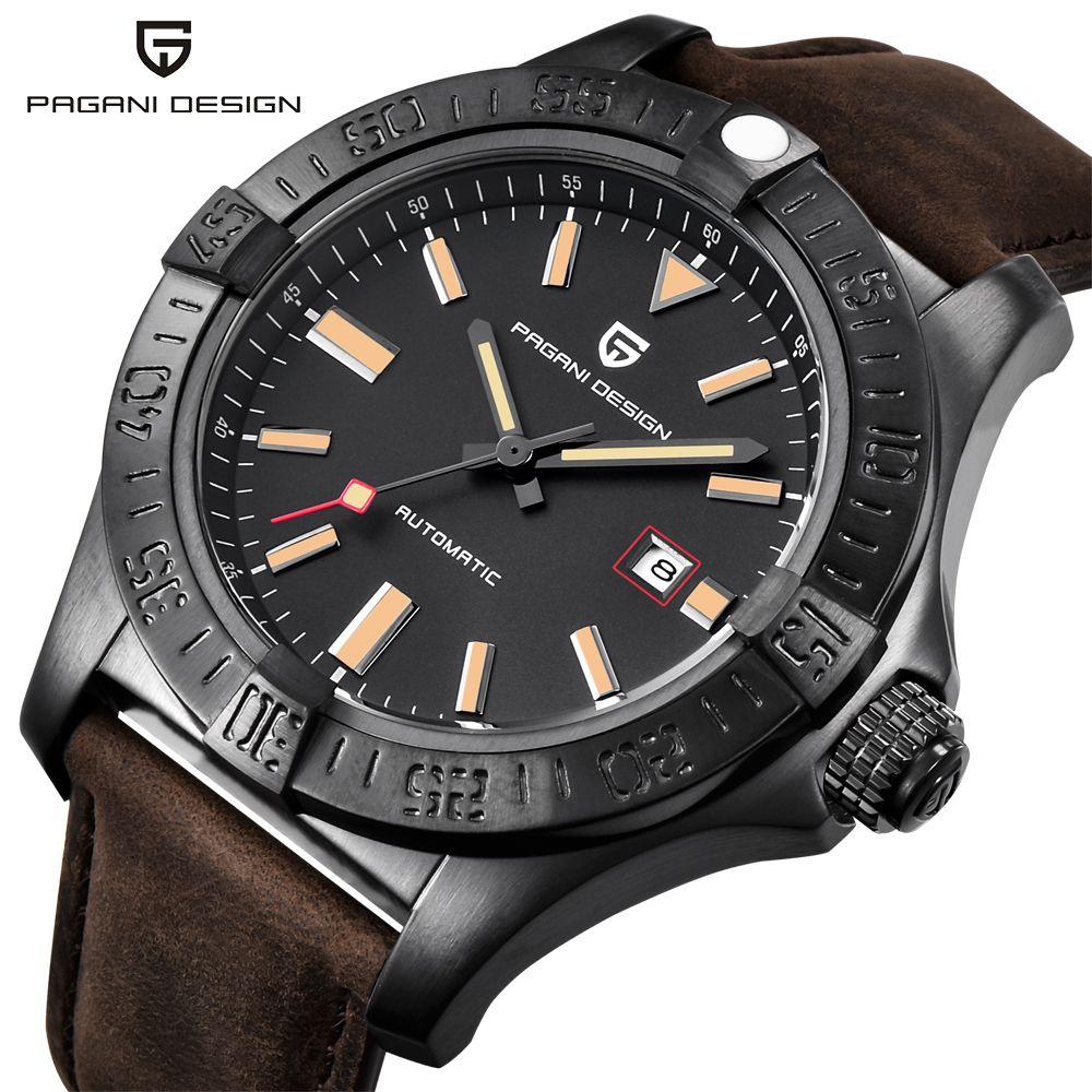 PAGANI DESIGN Neue männer Klassische Mechanische Uhren Wasserdicht 30 mt Echtem Leder Marke Luxus Große zifferblatt Automatische Uhr saat