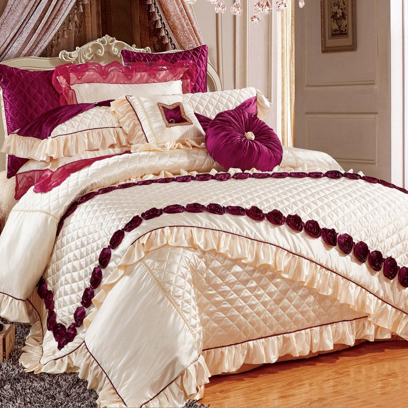 Svetanya luxury wedding embroidered slippery 11pcs bedding set bed flag bedspread silk cotton linens King Size duvet cover set