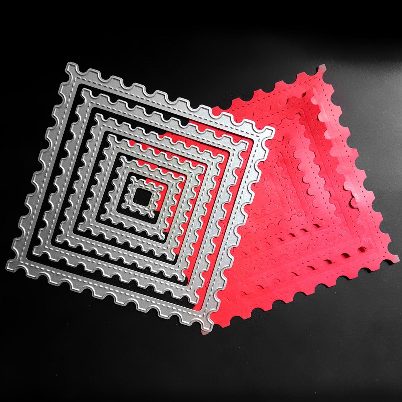 6 stücke Verschiedene Größen Carbon Stahl Platz Präge Schneiden Stirbt Schablonen Vorlagen Form für DIY Karte Handwerk Sammelalbum Album