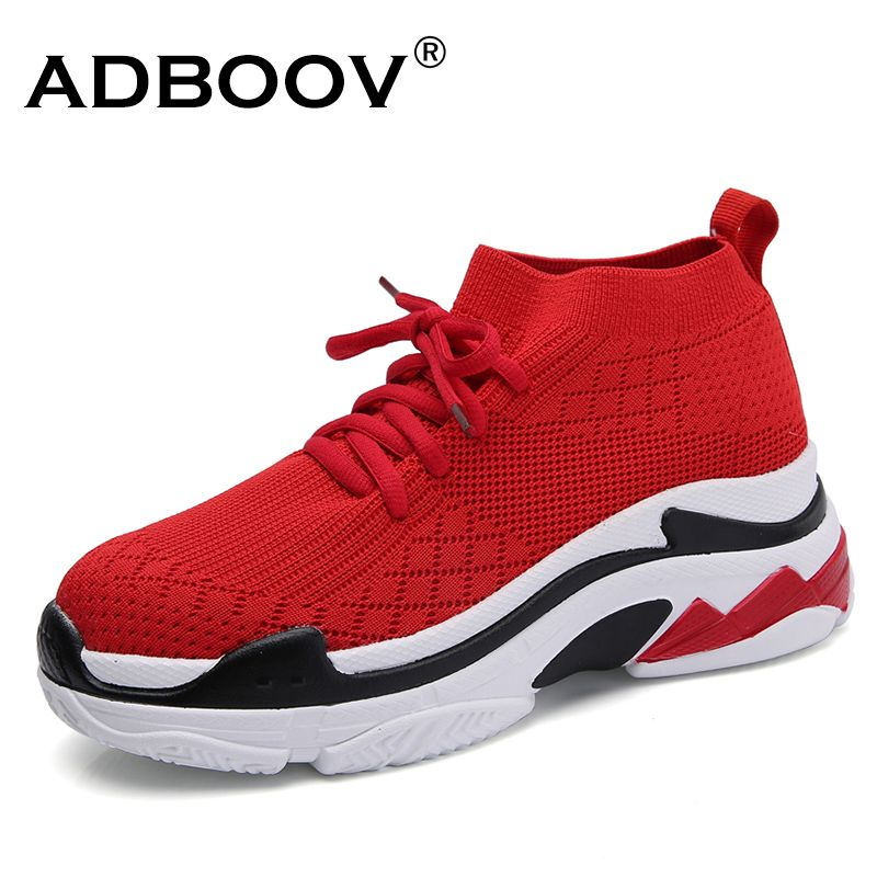 ADBOOV Breathable High Top Sneakers Women Height Increasing 5 CM Platform Shoes Knit <font><b>Upper</b></font> Casual Shoes Woman White / Black/Red