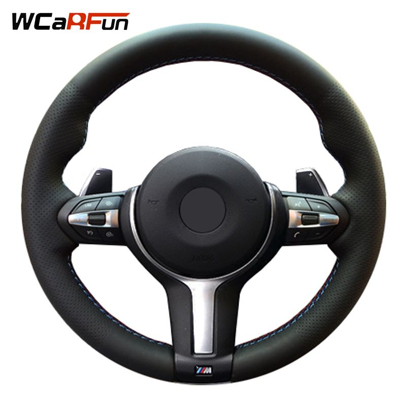 WCaRFun Black Artificial Leather Car Steering Wheel Cover for BMW M3 M4 2014 2015 2016 F31 428i 2015 F30 320d 328i 330i 2016