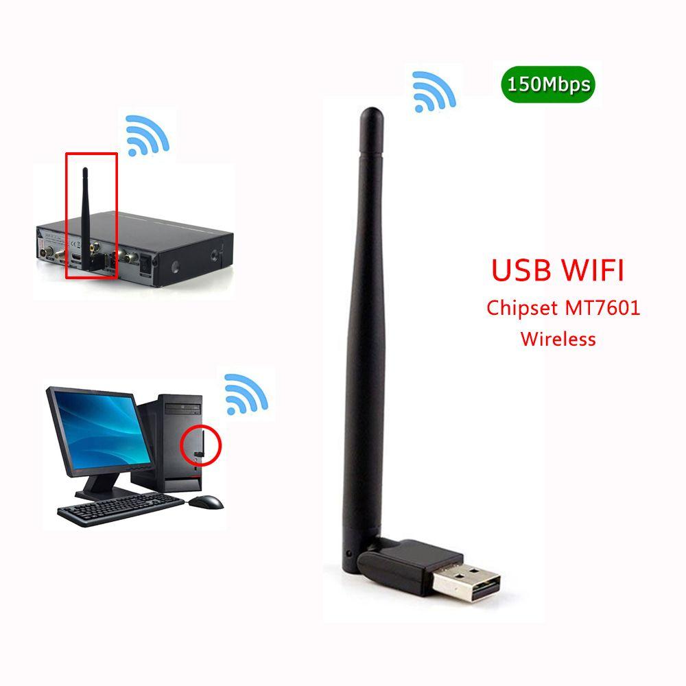 CHAUDE MT7601 MTK7601 7601 150 m Externe USB WiFi Adaptateur Antenne Dongle pour DVB S2 T2 T V6 V7 V8 f6S V8S PLUS Set Top TV Box PC