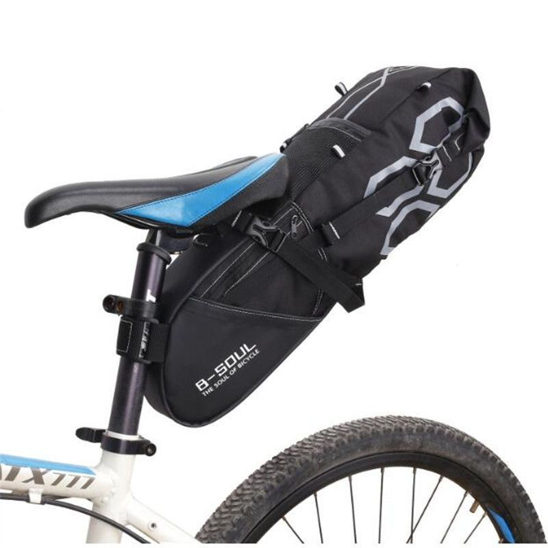 B-SOUL 10L Bike Bag Bicycle Saddle <font><b>Tail</b></font> Seat Waterproof Storage Bags Cycling Rear Pack Painners Accessories 63*28*14cm Freeship