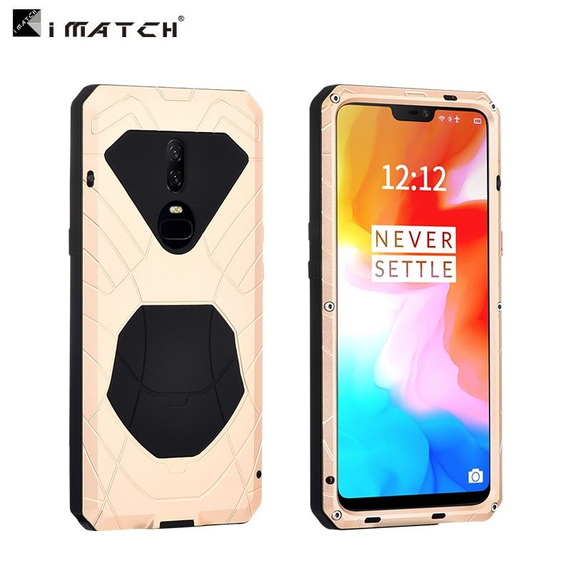 Original iMatch Case For Oneplus 6 Luxury Waterproof Shockproof Hard Metal Silicone Case For Oneplus 6 Full Protection Armor