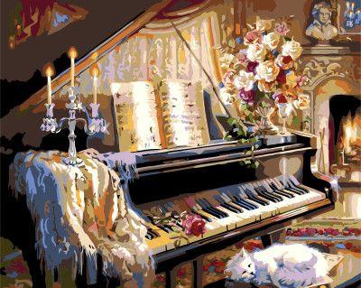 Peinture Par Numéro Kits Piano BRICOLAGE Toile Numérique Peinture À L'huile Coloration Par des Numéros Linge Grande Acrylique