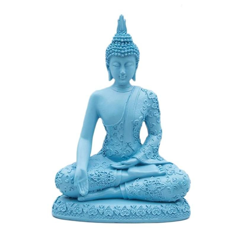 Sandstone Seated Thailand Buddha Statue Resin Technology Sculpture Hand Carved Figurine Fengshui Luck Wealth Ornament Decor Blue