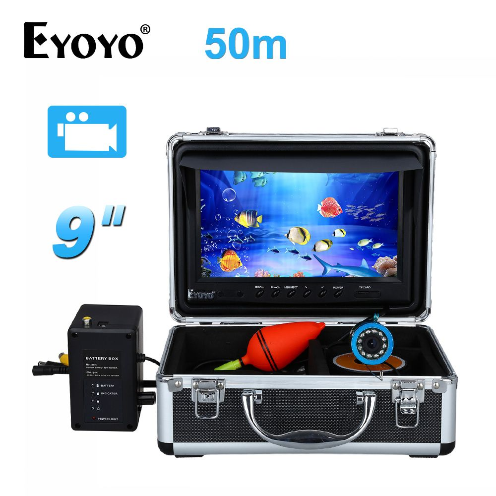 EYOYO 50M Fish Finder  9 LCD 8GB Underwater Video Camera w/DVR Function 12pcs White LED Adjustable Free Sunvisor