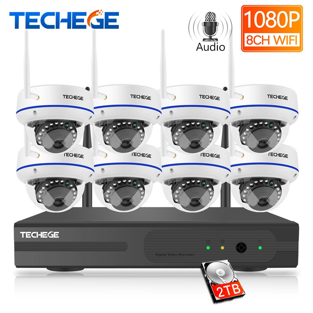 Techege 8CH 1080 P H.265 Wireless NVR Kit 2.0MP Audio Record E-mail Alarm Vandalproof IP Kamera Sicherheit Video Überwachung System