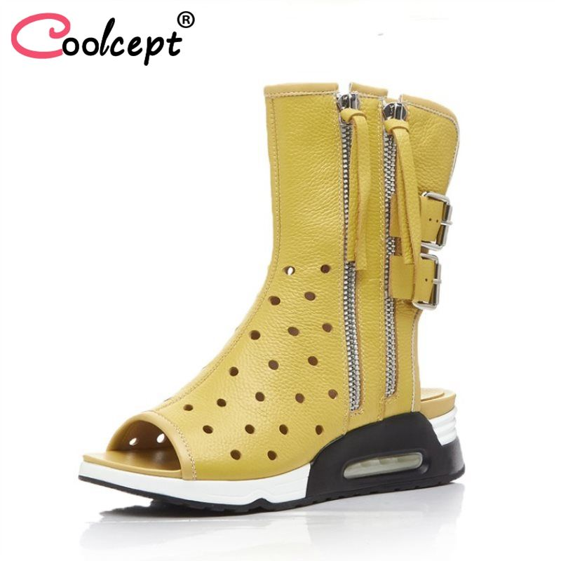 Coolcept Women Genuine Leather British Style Boots Fashion Zipper Tassels Wedges Boots Women Summer Vacation Boots Size 34-39