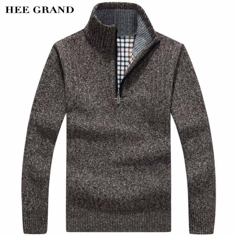 Hee Grand/Для мужчин Повседневное Стиль свитер стоять воротник тонкой шерсти теплые толстые осень-зима молнии Пуловеры для женщин плюс Размеры ...