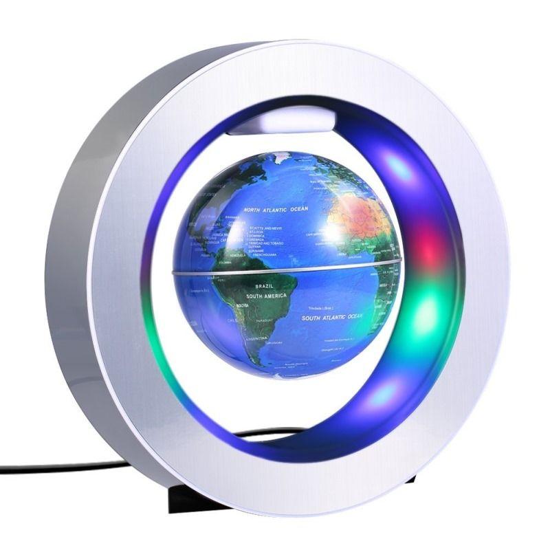 O-Shaped Holder Magnetic Levitation Floating World Map Globe Home Desktop Decorative Crafts Anti Gravity With LED Light Lamp