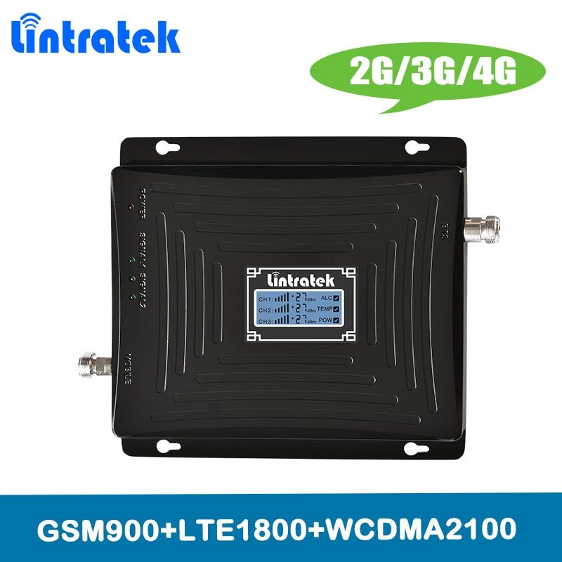 Lintratek 2G 3G 4G Amplifier Tri Band Cellular Signal Booster GSM 900 DCS LTE 1800 WCDMA UMTS 2100MHz Cellphone Signal Repeater