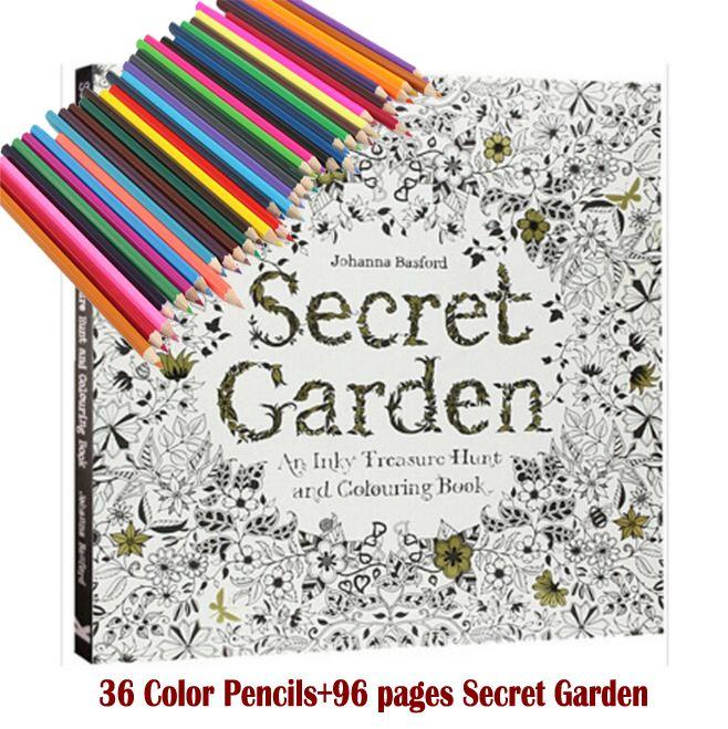 36 crayons de couleur + 96 pages livres de coloriage anglais Secret jardin pour adulte dessiné à la main soulager le Stress Graffiti peinture Libros