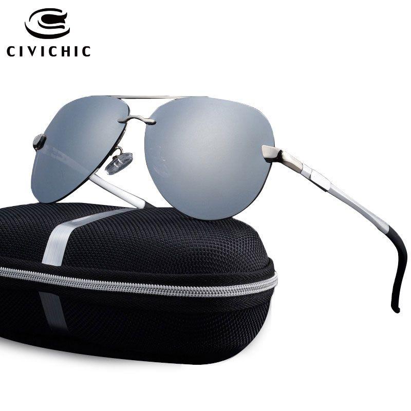 CIVI CHIC Al Mg Polarized Sunglasses Man Frog Mirror Eyewear HD Oculos De Sol Driving Sun Glass UV400 Zonnebril Pilot Gafas E196