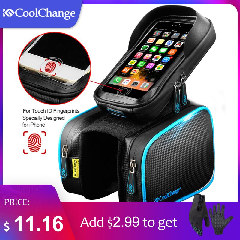 CoolChange Bicycle Frame Front Head Top Tube Waterproof <font><b>Bike</b></font> Bag&Double IPouch Cycling For 6.0 in Cell Phone <font><b>Bike</b></font> Accessories