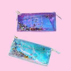 1 шт. прозрачный крутой пенал Супер Блестящая Лазерная ПВХ карандаши сумки высококачественные канцтовары сумка офисные школьные принадлеж...