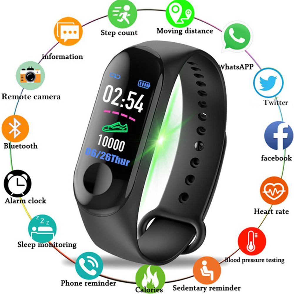 2018 New Women Sport Waterproof Smartwatch Blood Pressure Heart Rate Monitor Smart Watch Men Fitness Tracker Pedometer Watch M3