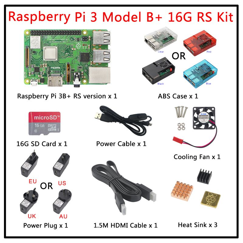 Original UK RS Raspberry Pi 3 Model B Plus+Case+Fan+Power Adapter+Heat Sink+16G 32G SD Card+HDMI Cable for Raspberry Pi 3B+ kit