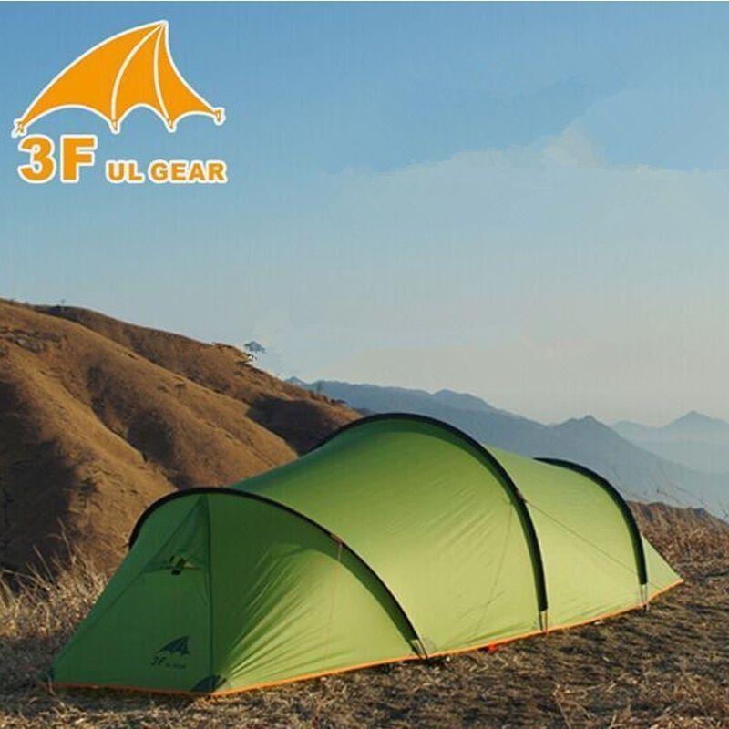 3F UL GEAR 2 person 2 room 4 season Tunnel tent 15D silicon outdoor camping hiking climbing ultralight large space 210T tents