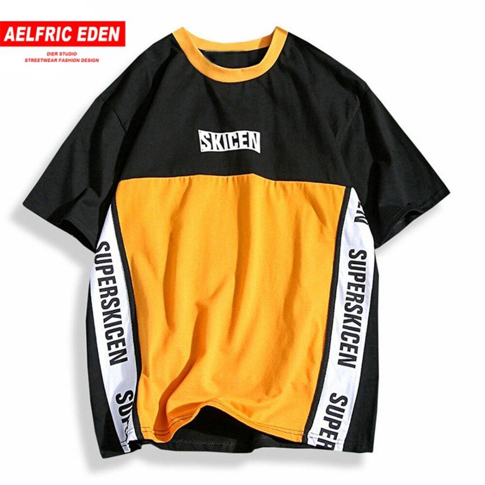Aelfric Eden Hip Hop Skateboard Baseball Shirt Men Letter Print Patchwork Color Purple Casual T Shirt Cotton Tees T-shirts PA208