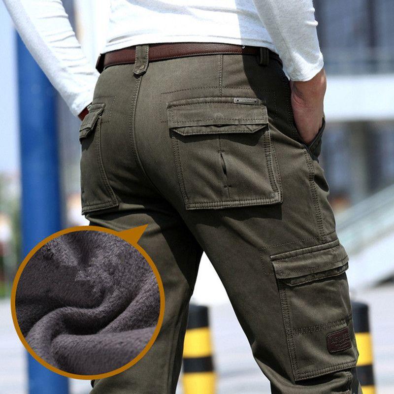 2017 Fleece Warm Winter Cargo Pants Men Casual Loose Multi-pocket Men's Clothes Military <font><b>Army</b></font> Green Khaki Pants 237