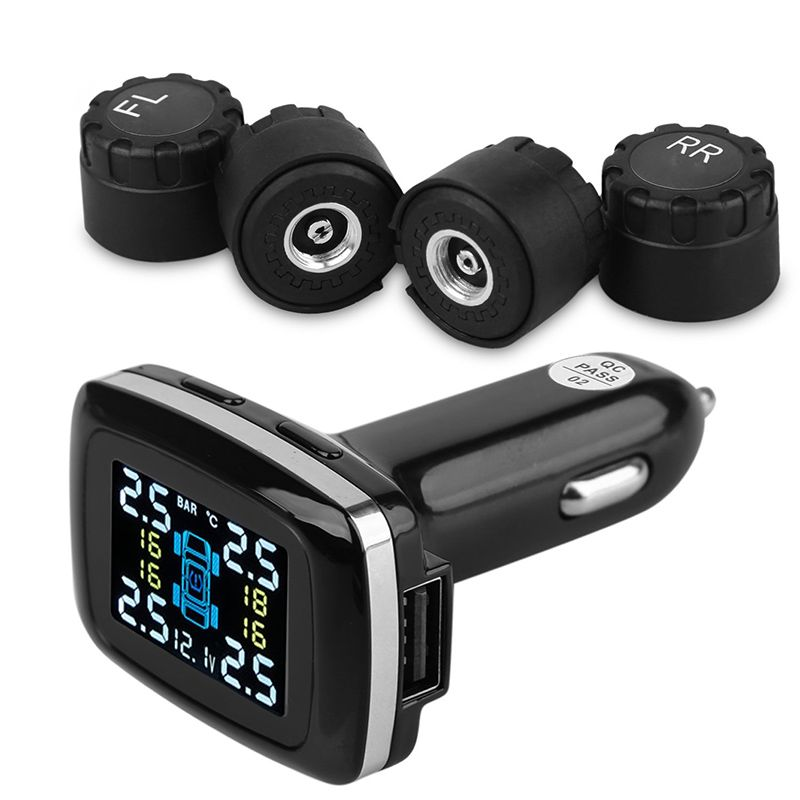 Waterproof & Portable Tire Pressure Monitor System Car TPMS with External Sensor BAR PSI Monitor System Cigarette Lighter Socket