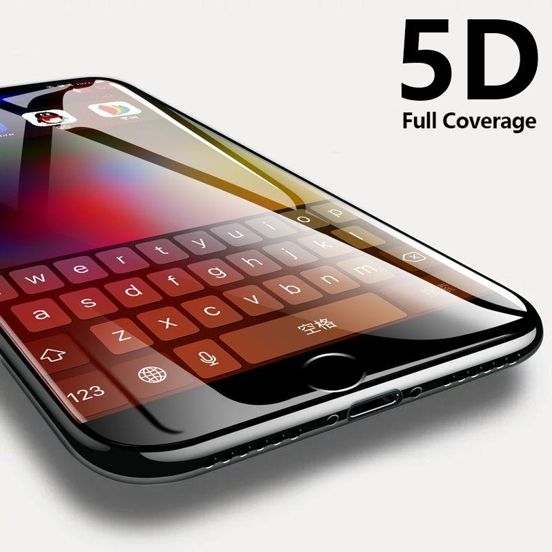 CHYI 5D Curvrd verre Pour iphone 7 plus 8 Plein écran Protecteur Oleophobic Revêtement 9 H Trempé De Protection pour iphone 6 plus
