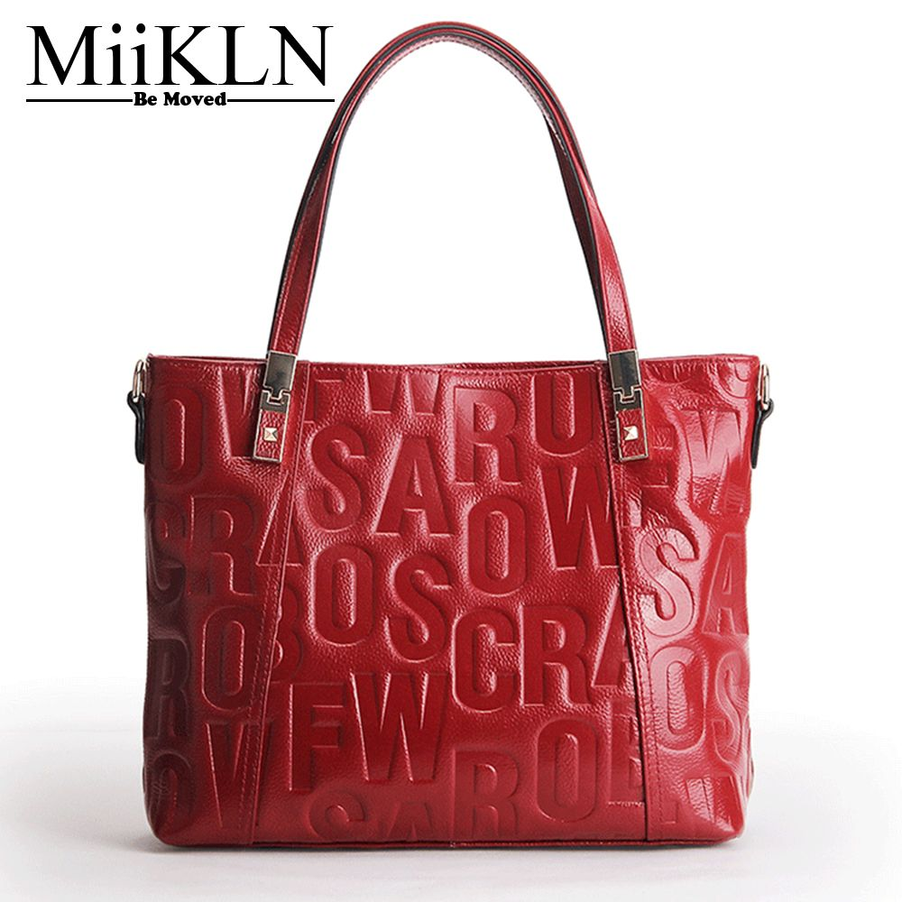 MiiKLN Red Blue Pink Grey Black Beauty Colors Women Handbag Genuine Leather Casual Tote Cow Leather Woman Bag