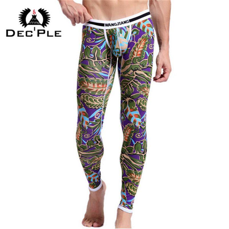 2017 algodón 3D imprimir hombres Calzoncillos largos hombres underpant de los hombres Otoño Invierno pantalones calientes calzoncillos Delgado dormir ropa interior masculina