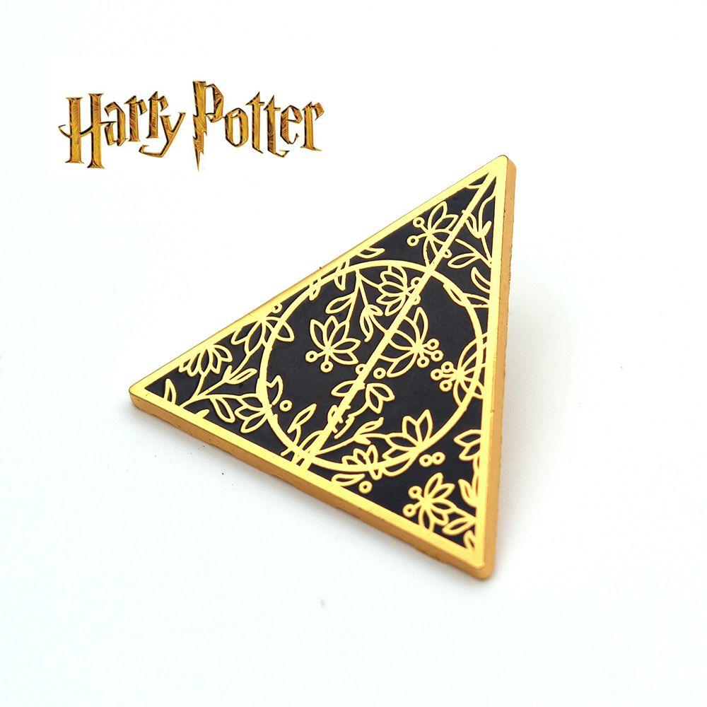 Harri Potter Heiligtümer des todes Symbol Gold Metall Handgemachte Abzeichen Brosche Pin Brust Taste Ornament Cospaly Sammlung Otaku Geschenk Neue