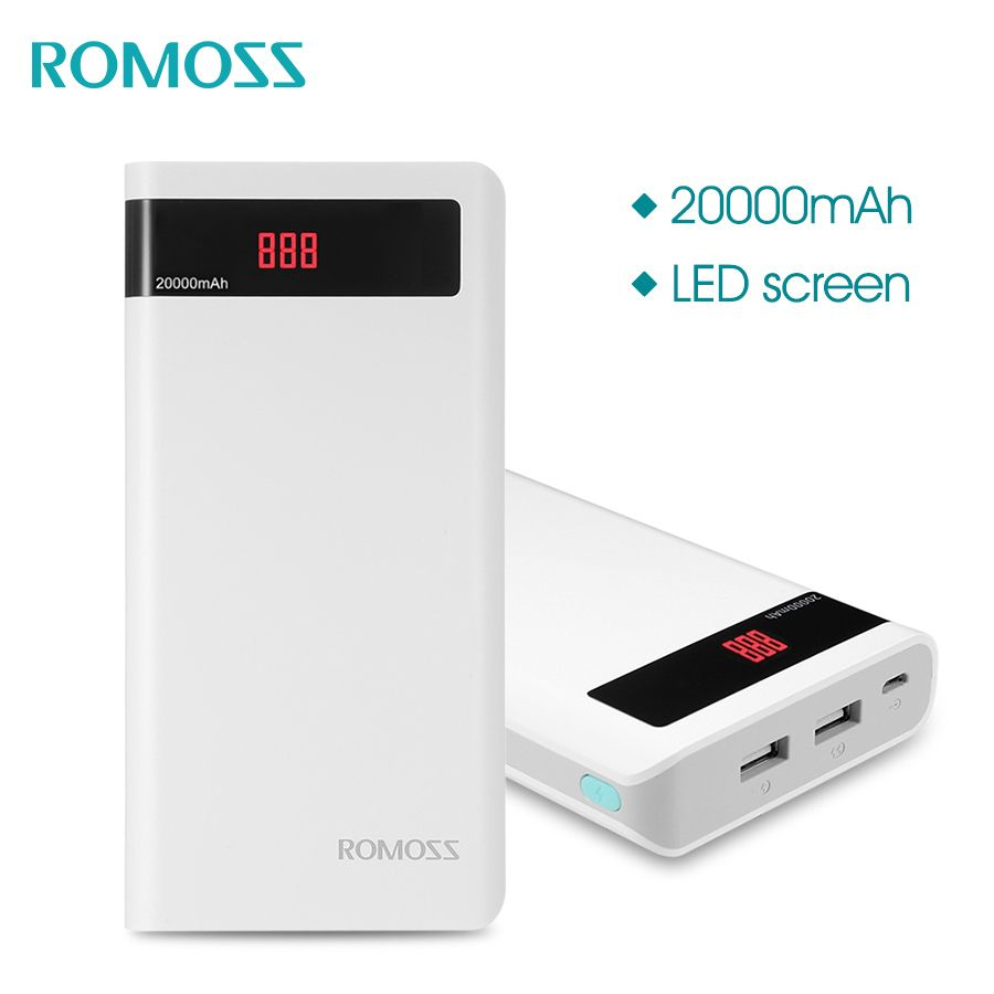 ROMOSS Sense 6P 20000mAh Power Bank Portable External Battery with LED Display Dual USB Fast Charger for iPhoneXR XS Xiaomi MIX3