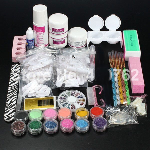 BTT-110 Free Shipping New Pro Acrylic Powder Liquid Glitter Brush Tweezer Primer Nail Art Tips Tools Kit Set