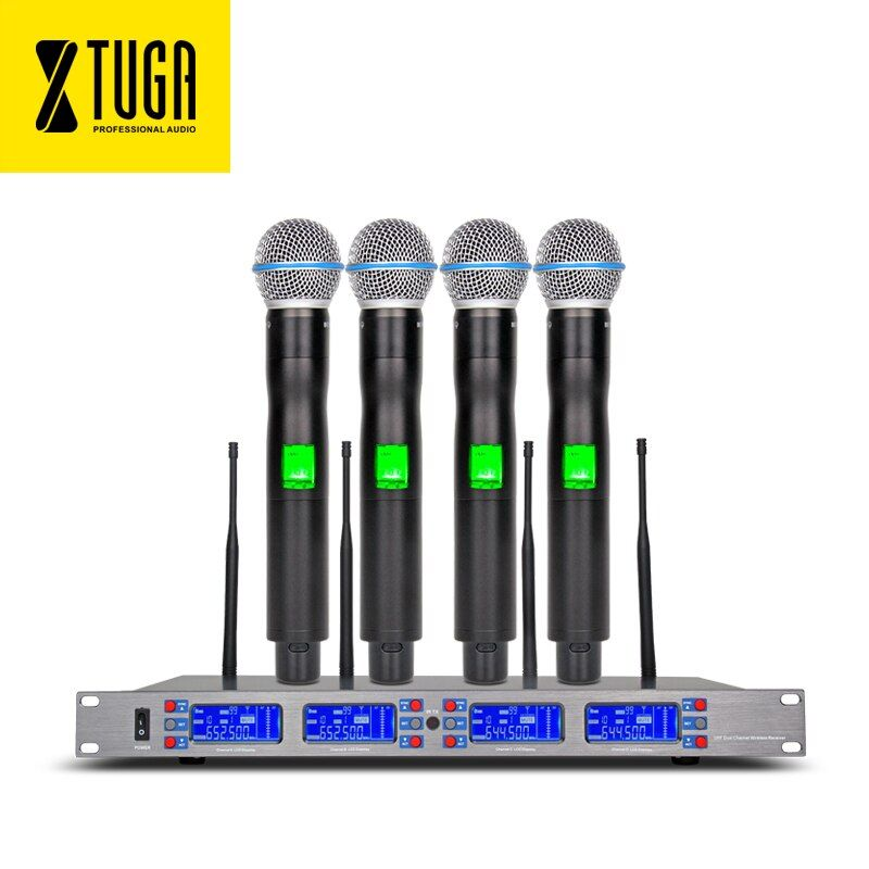 free shipping 4*100 Channel Selectable Frequency Perfect for Stage Vocal Concert UR24D 4 Handheld Wireless Microphone System