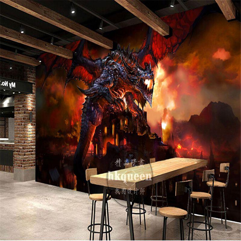 Beibehang spiel Red flamme pterodactyl dinosaurier tapete nach wandbild foto 3d wandmalereien tapete papel de parede para quarto