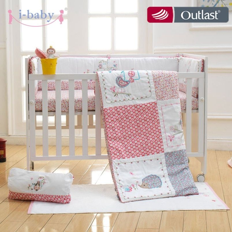 i-baby Newborn Baby Infant 9pcs Crib Bedding set Dream Land 100% Cotton Printed Sheet Duvet Pillow Bumper Cot Sets in Crib