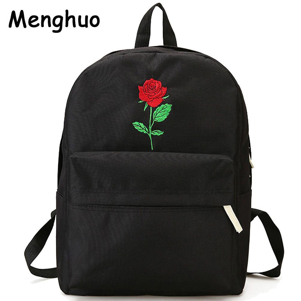 Menghuo Men Heart Canvas Backpack Women School Bag Backpack Rose Embroidery Backpacks for Teenagers Women's Travel Bags Mochilas