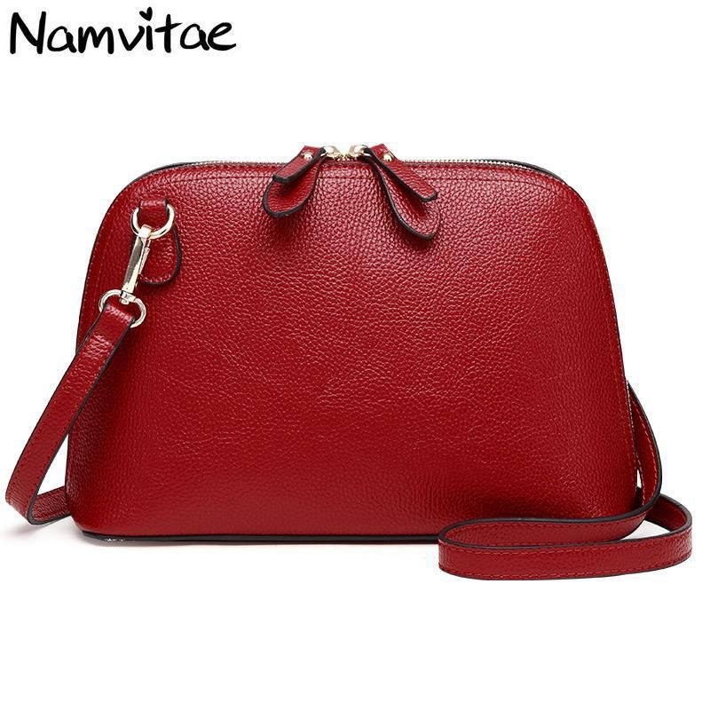 Namvitae Brand Genuine Leather Women <font><b>Messenger</b></font> Bag High Quality Cow Leather Small Crossbody Shell Bag Women Fashion Shoulder Bag