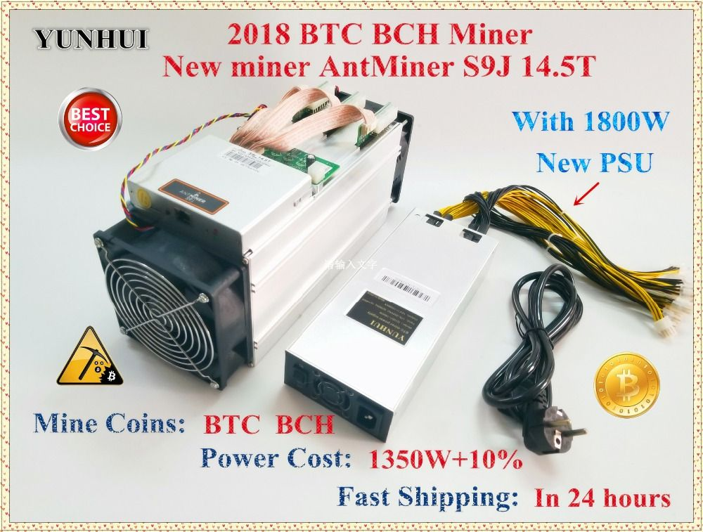 Neue AntMiner S9j 14,5 t Mit 1800 watt NETZTEIL Asic Bitcoin Miner SHA-256 BTC BITMAIN Miner Besser Als Antminer S9 s9i 13 t 13,5 t 14 t
