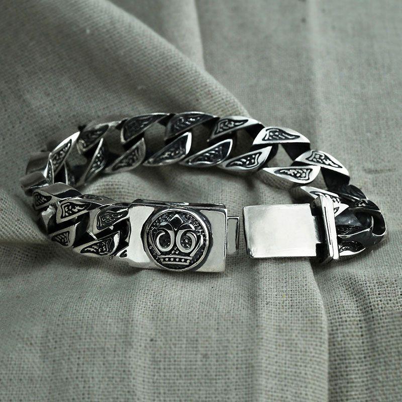 Punk Big Statement Bracelet 925 Sterling Silver pulseras Christmas Gifts S925 Solid Thai Silver Skeleton Bracelet Men Jewelry