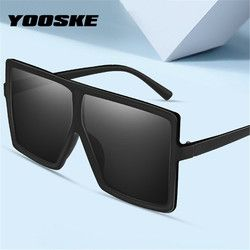 YOOSKE Vintage Oversized Sunglasses Women Men Retro 90s Sun Glasses Female Male Big Frame Black Eyewear UV400