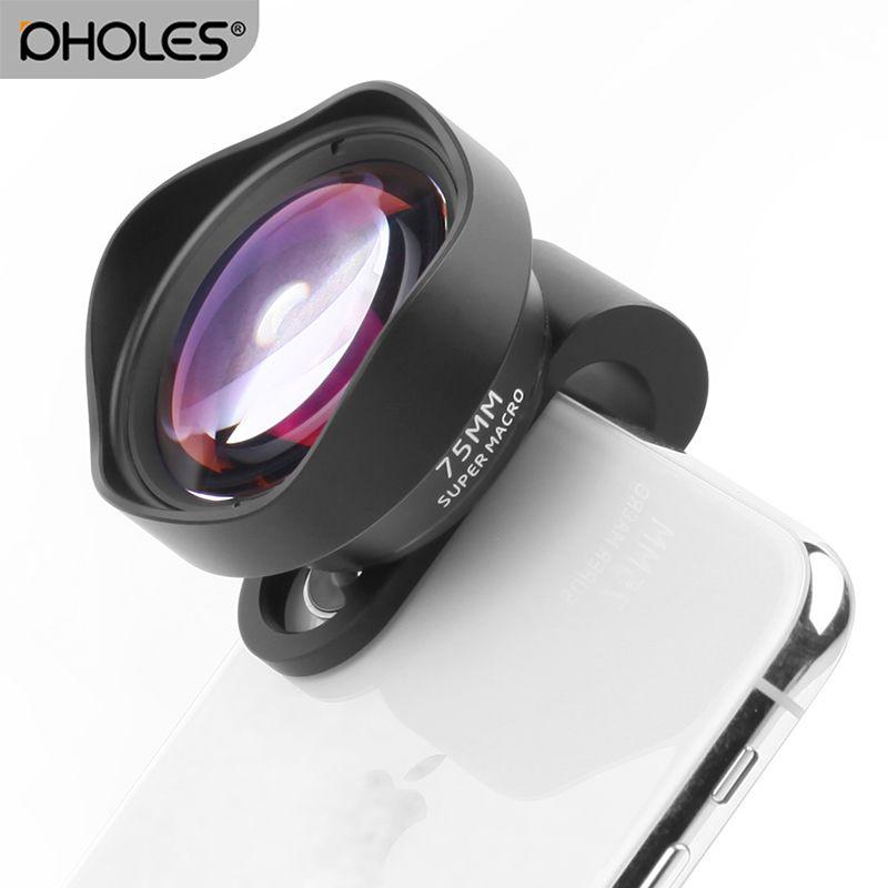 Pholes 75mm 10X Marco Camera Lens pour Téléphone Clip-sur HD 4 k Mobile Lentilles pour iPhone Xs max 8 Plus Huawei P20 Pro Samsung S8 S9