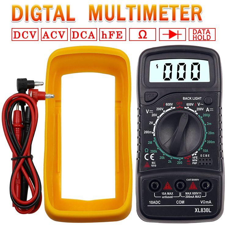 Portable Digital Multimeter Backlight AC/DC Ammeter Voltmeter Ohm Tester Meter XL830L Handheld LCD Multimetro Voltage Current