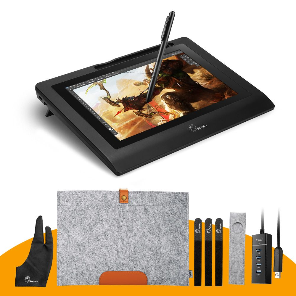 Parblo Coast10 10.1 IPS Graphic Monitor Kit For Design+ Battery-free Pen +Wool Liner Bag+Two-Finger Glove+ Stylus Sleeve