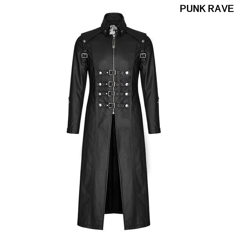 Punk Skull Decoration Winter Cross Trench Gothic Rock Unique Fashionable Heavy PU Leather Parka Coats Jackets PUNK RAVE Y-809