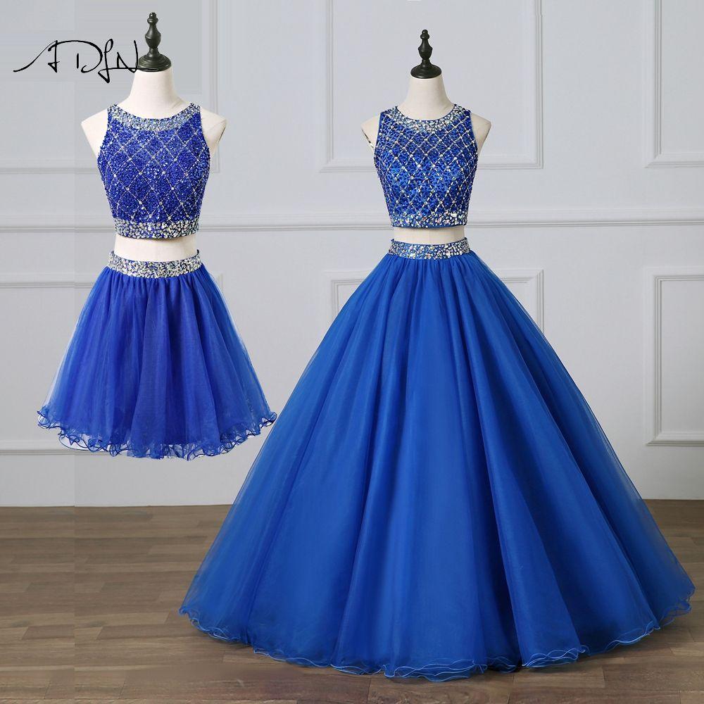 ADLN Wunderschöne Zwei Stück Quinceanera Kleider Royal Blue Abendkleid mit Abnehmbaren Rock Stark Perlen Süße 15 Kleid