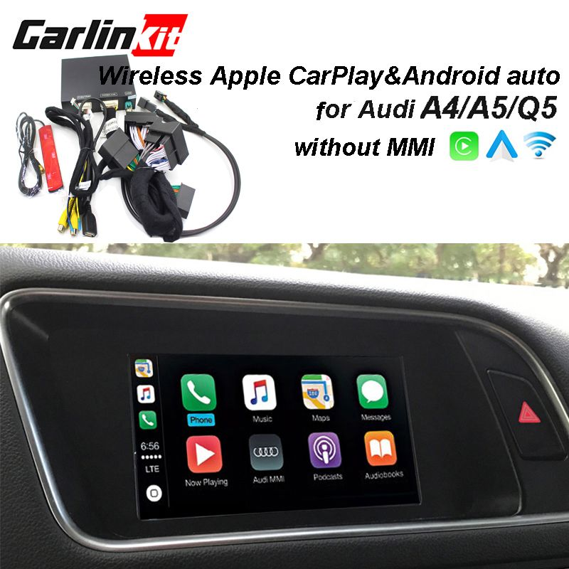 2019 auto Apple CarPlay Android Auto Wireless Decoder für Audi A4 A5 Q5 ohne MMI Original Bildschirm Reverse bild Nachrüstung kit