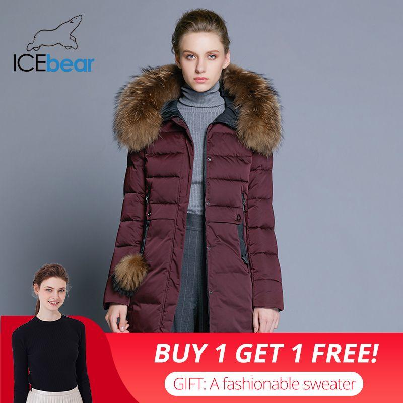 ICEbear 2018 winter frauen mantel lange dünne weibliche jacke tier pelz kragen marke kleidung dicke warme winddicht parka GWD18253