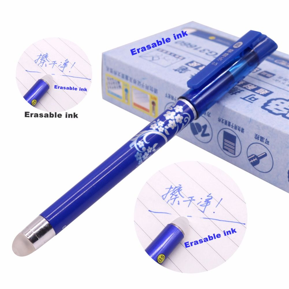 12 Pcs Magic Pen Erasable Gel Pen 0.5mm Tip Blue Refill Student Stationery Writing Pen Wholesale