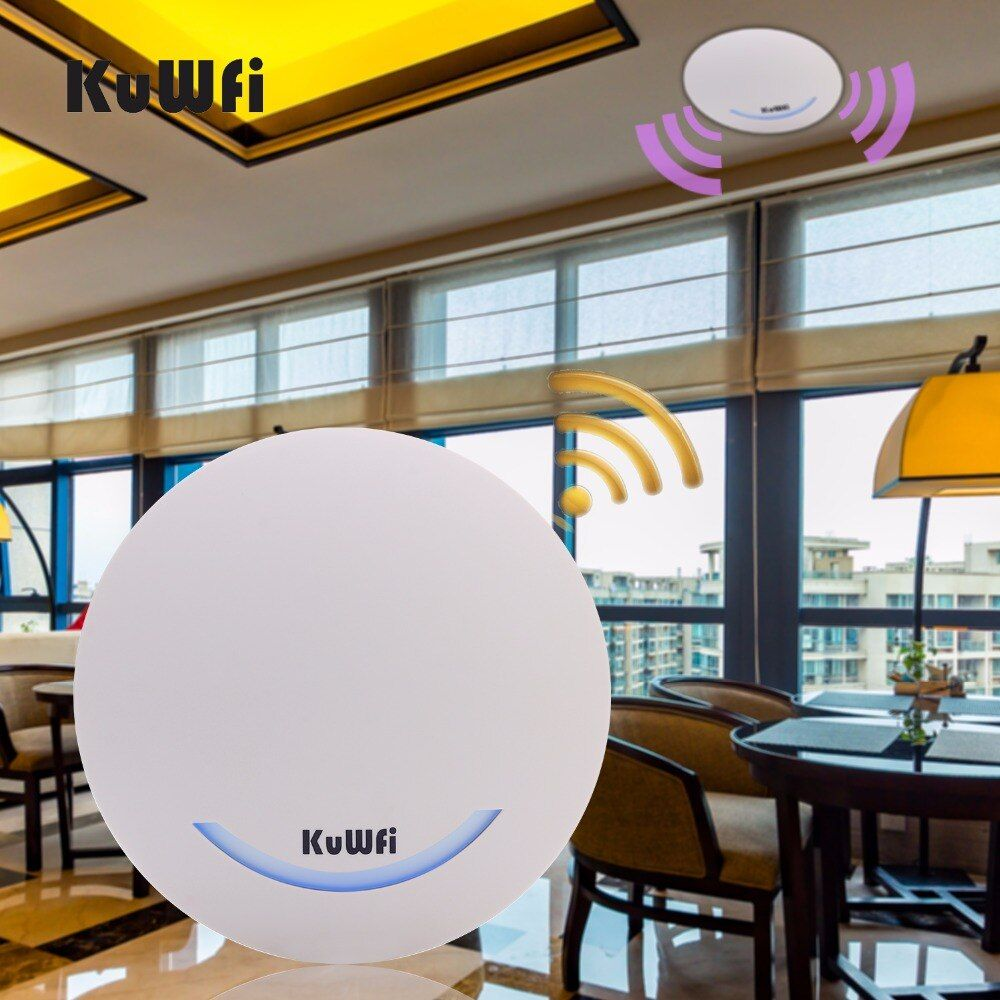 KuWFi 600Mbps Ceiling Wireless Router Dual Band Access Point AP Wifi Signal Amplifier WIFI Extender Signal Bosster POE Router
