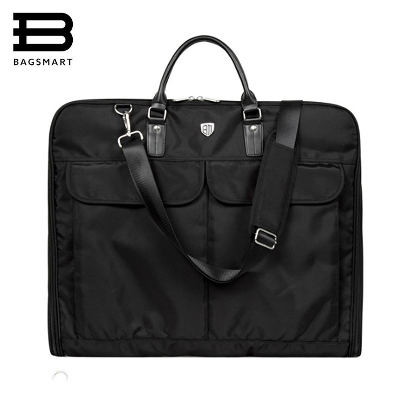 BAGSMART 2018 Waterproof Black Nylon Garment Bag With Handle Lightweight Suit Bag Business Men Travel Bags For Suits